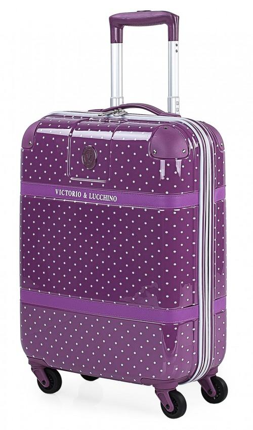 8015008 maleta cabina victorio & lucchino lunares malva 4 ruedas dobles policarbonato vista general