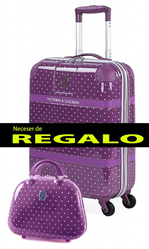 8015008 maleta cabina victorio & lucchino lunares malva 4 ruedas dobles