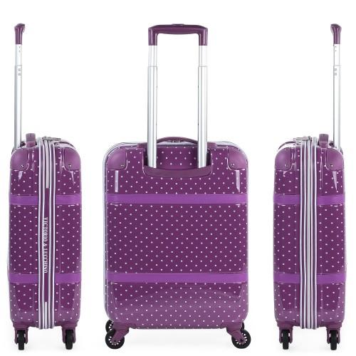 8015008 maleta cabina victorio & lucchino lunares malva vista lateral y trasera