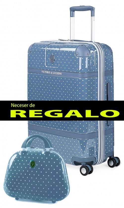8016007 maleta mediana victorio & lucchino lunares azul 4 ruedas policarbonato