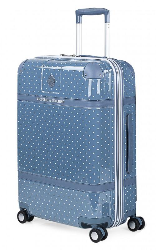 8016007 maleta mediana victorio & lucchino lunares azul 4 ruedas policarbonato vista general