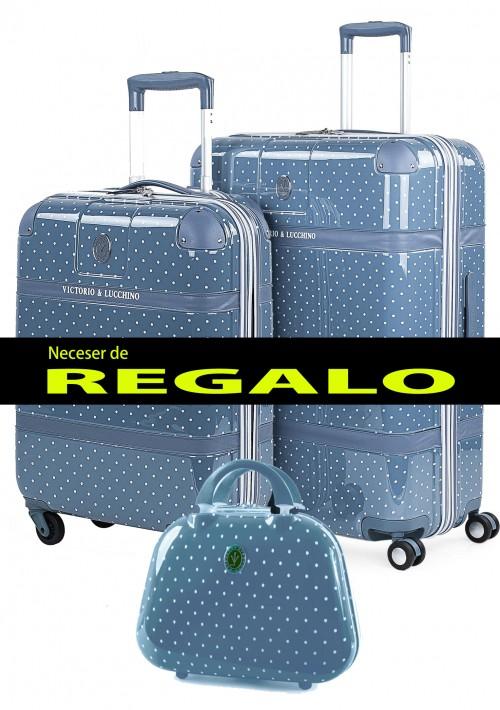 8010007 juego maletas cabina + mediana  victorio & lucchino lunares azul 4 ruedas policarbonato
