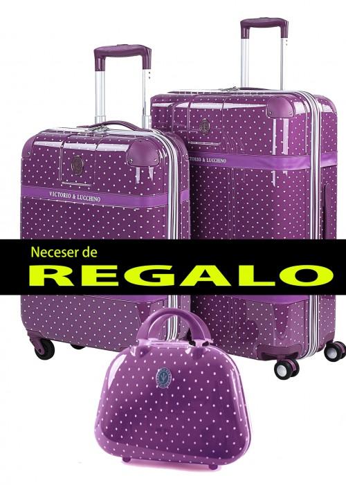 8010008 juego maletas cabina + mediana  victorio & lucchino lunares malva 4 ruedas en policarbonato