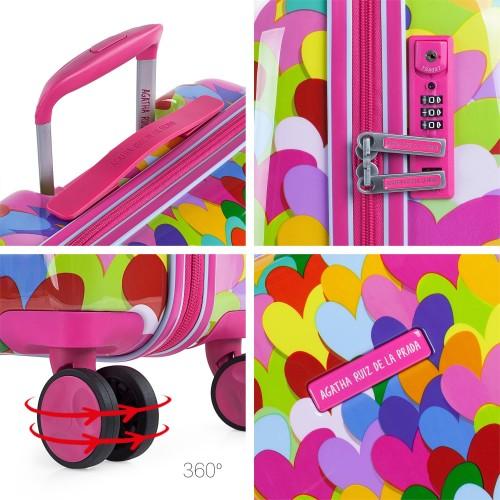 Maleta Cabina Agatha  Corazones Colores detalles