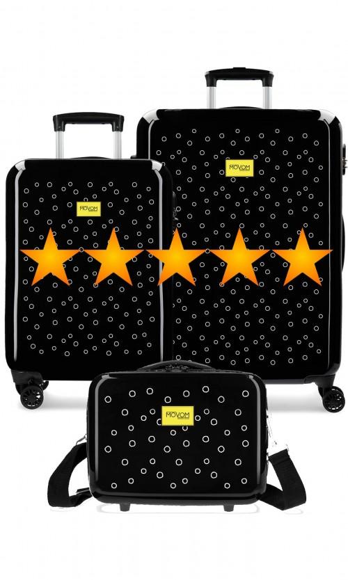 3651962N  muego maletas cabina y mediana movom bubbles amarillo  + neceser