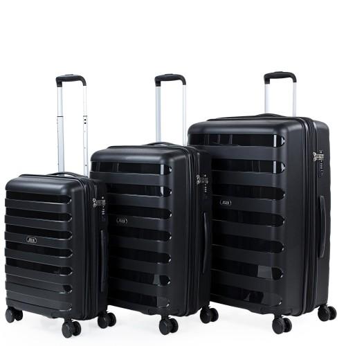 16120001 Juego maletas cabina mediana y grande jaslen roma negro
