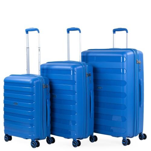 16120002 Juego maletas cabina mediana y grande jaslen roma azul