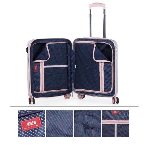 17125006  Maleta cabina Jaslen san marino  expandible puerto usb rosa/plata