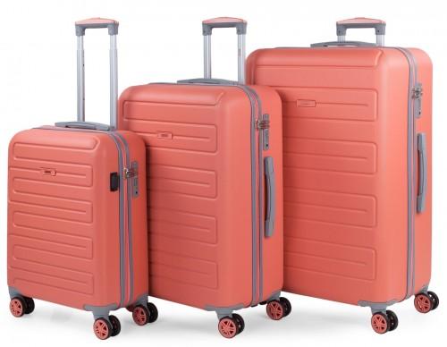 17500002   juego maletas cabina, mediana  y grande  skpat mónaco coral