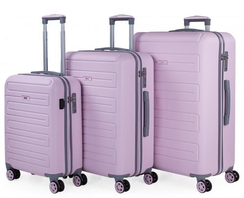 17500003   juego maletas cabina, mediana  y grande    skpat mónaco rosa