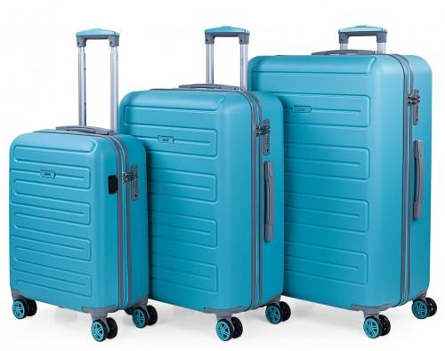 17500001  juego maletas cabina, mediana  y grande skpat mónaco turquesa
