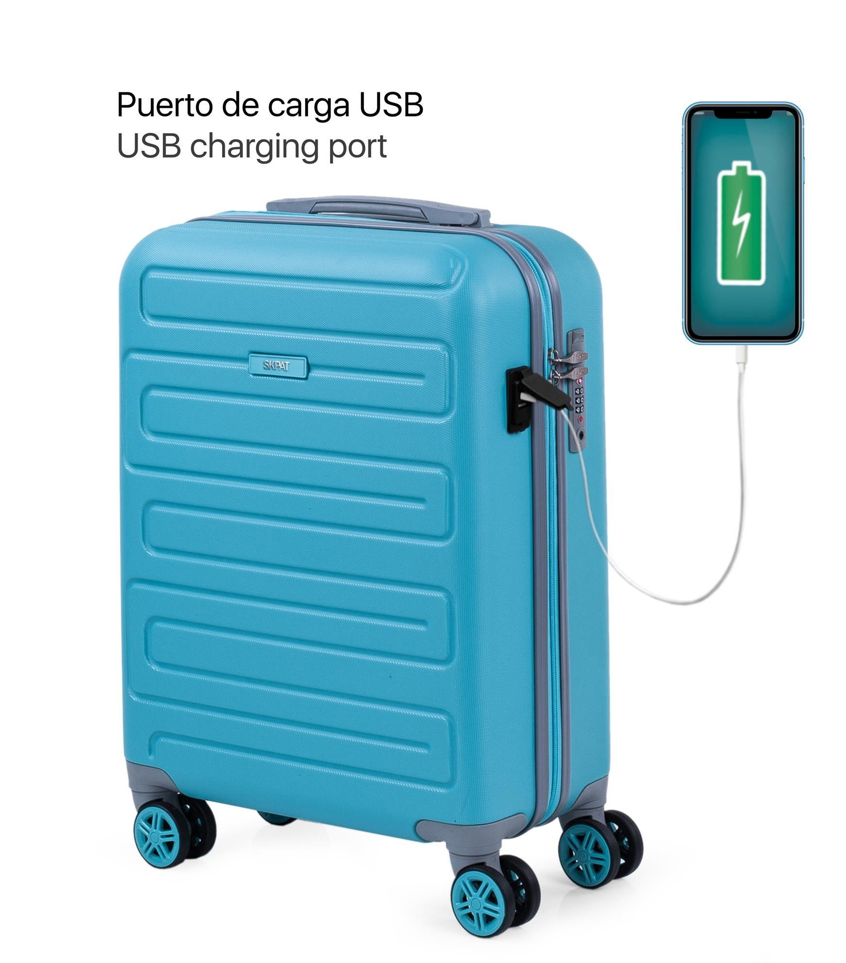 17505001 Maleta Cabina con puerto usb skpat mónaco turquesa