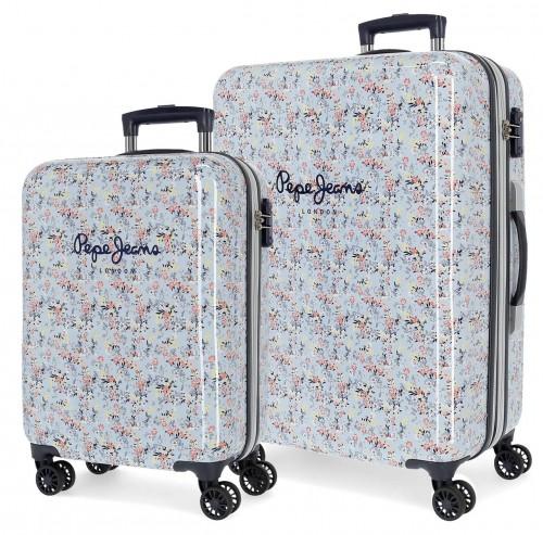 6021921 juego maletas cabina y mediana (expandible) en abs pepe jeans malila