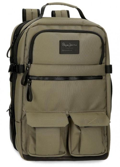 7172922 Mochila equipaje de mano portaordenador con puerto usb pepe jeans denton caqui
