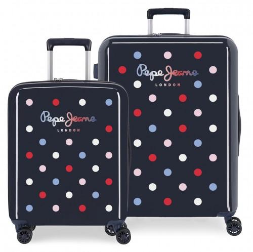 7669721 set maleta cabina y mediana pepe jeans emma azul marino