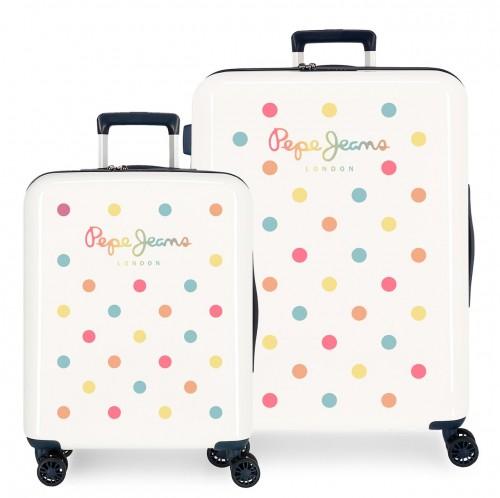 7669723 set maleta cabina y mediana pepe jeans emma blanco