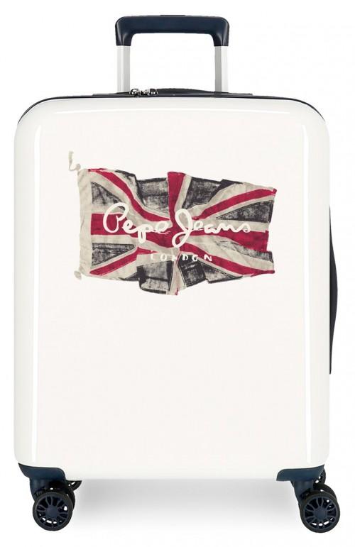 7679322 maleta de cabina pepe jeans flag blanco