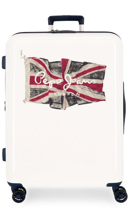 7679422 maleta mediana expandible pepe jeans flag blanco