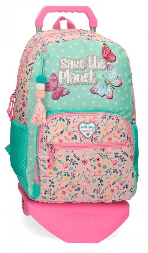 20125T1   mochila 44cm con carro movom save the planet  con cantoneras de goma