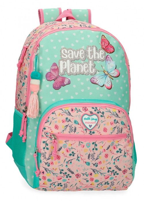 2012621 mochila 44cm doble c. adaptable con cantoneras  movom save the planet