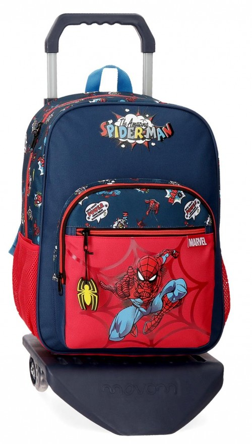 20723T1  mochila mediana 38cm con carro spiderman pop