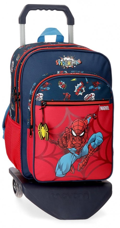 20724T1   mochila grande 40cm doble comp. con carro spiderman pop