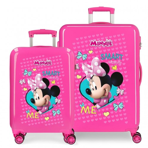 22319E1 set maleta cabina y mediana  Minnie Happy Helpers en color rosa