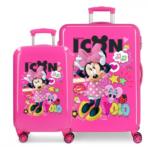 2561961 set maleta cabina y mediana enjoy  minnie icon fucsia