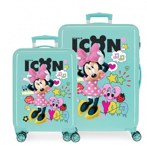 2561963 set maleta cabina y mediana minnie icon turquesa
