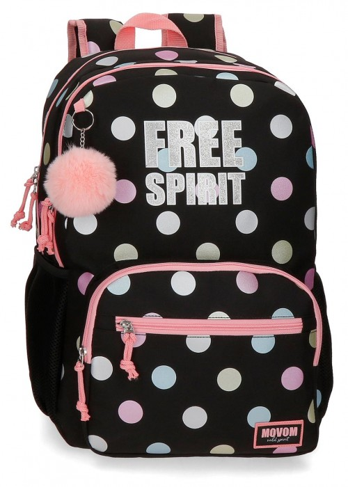 3062421 mochila grande 46cm doble comp. adaptable Movom Free Dots