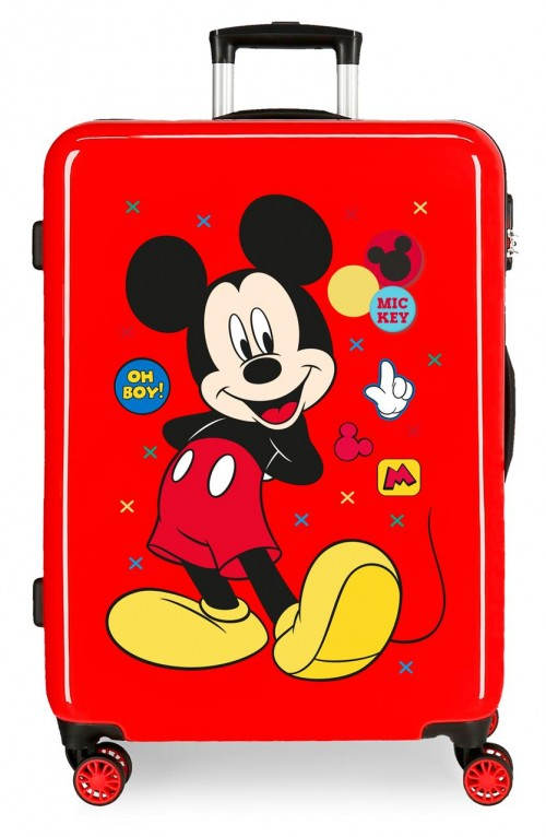 4681867 maleta mediana mickey enjoy the day oh boy rojo