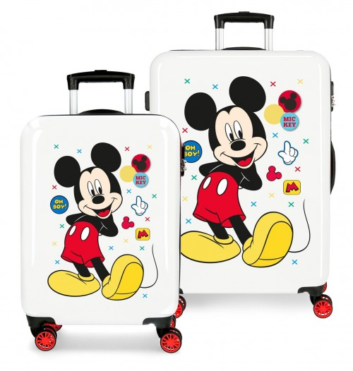 4681961 set maleta cabina y mediana mickey enjoy the day oh boy blanco