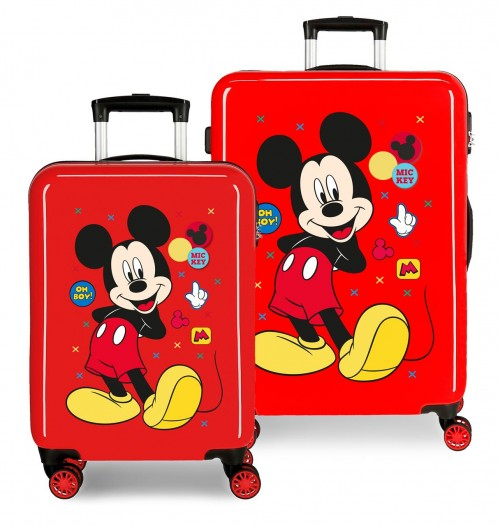4681967 set maleta cabina y mediana mickey enjoy the day oh boy rojo