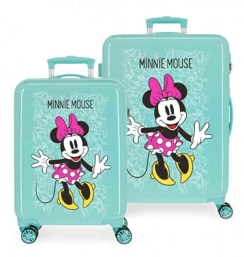 4681969 set maleta cabina y mediana turquesa minnie enjoy the day