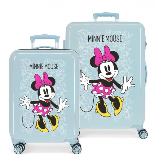 468196A set maleta cabina y mediana azul minnie enjoy the day