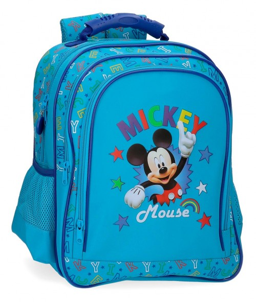 4782561 mochila mediana 38cm doble comp. mickey stars