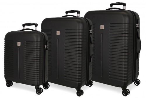 5089421 juego maletas cabina, mediana y grande india negro