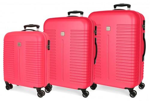 5089426 juego maletas cabina, mediana y grande india fucsia