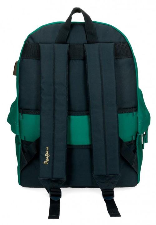 6112322 mochila 44cm adaptable pepe jeans mark verde