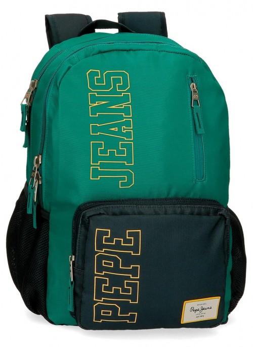 61124D2 mochila 46cm doble comp. portaordenador pepe jeans mark verde