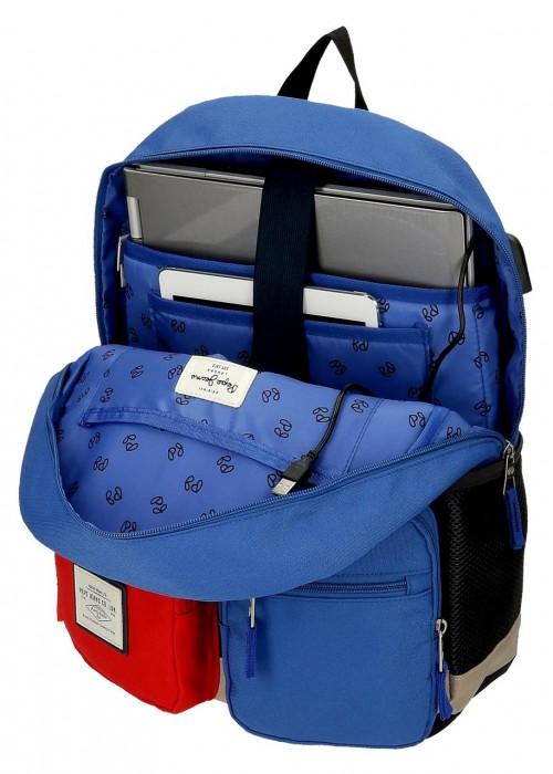 61223D1 mochila portaordenador 44cm pepe jeans dany azul adaptable