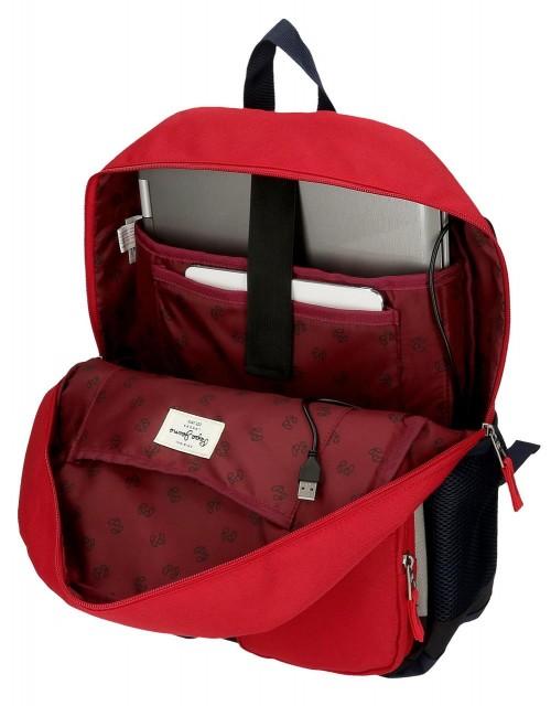 61223D2 mochila portaordenador 44cm pepe jeans dany rojo adaptable