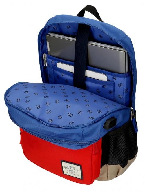 61224D1 mochila portaordenador 46cm doble compartimento azul  adaptable