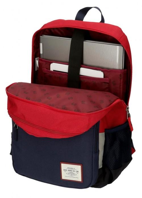 61224D2 mochila portaordenador 46cm doble compartimento roja adaptable