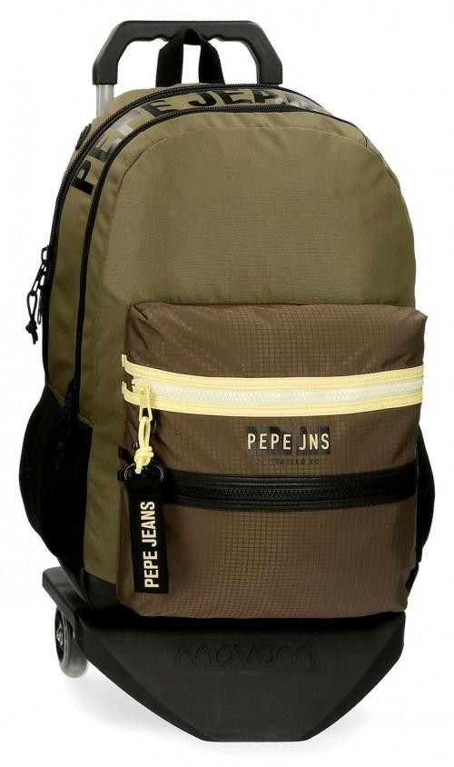 61424T1  mochila 46cm doble compartimento con carro  pepe jeans caden