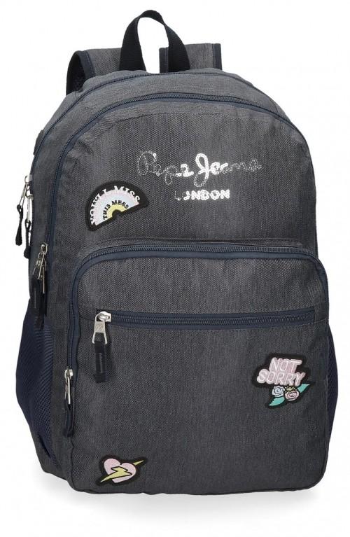 6182421 mochila 46cm adaptable de doble compartimento pepe jeans emi