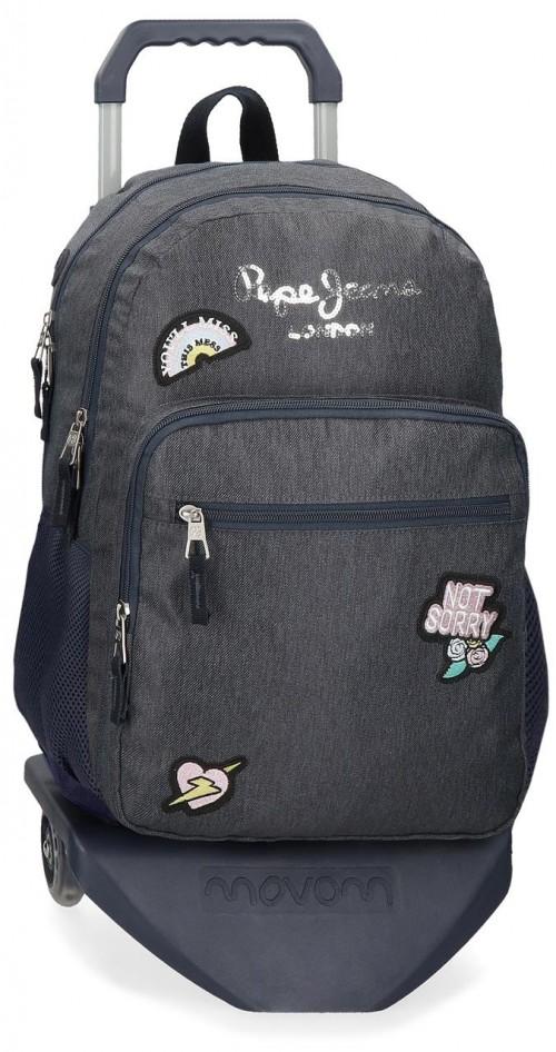 61824T1 mochila 46cm doble compartimento con carro pepe jeans emi