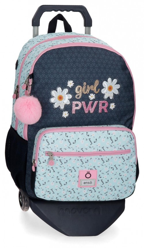 90224T1 mochila grande 44cm doble comp. con carro enso girl power