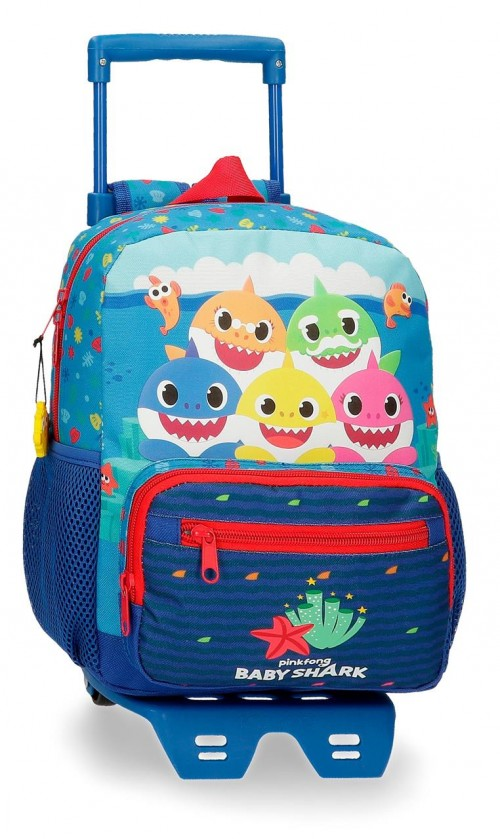 21221T1  Mochila con Carro 28 cm Baby Shark Happy Family