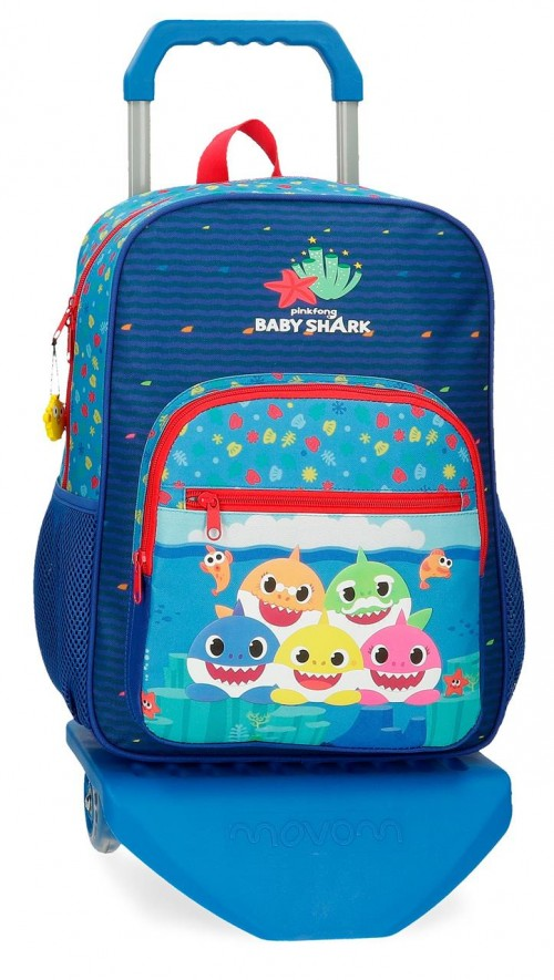 21223T1 Mochila Mediana con Carro 38 cm  Baby Shark Happy Family